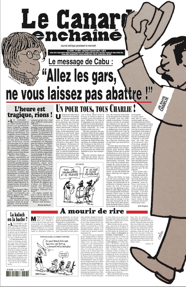 """""""Le Canard enchaîné"""", publie sur plusieurs pages des dessins de Charlie avec ce message """"Un pour tous, tous pour Charlie"""""""