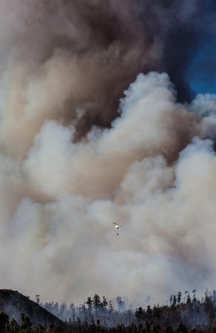 Un canadair s'engage dans le gigantesque nuage de fumée