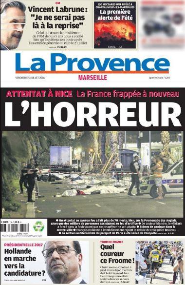 """Simplement """"L'Horreur"""", en Une de """"La Provence"""""""