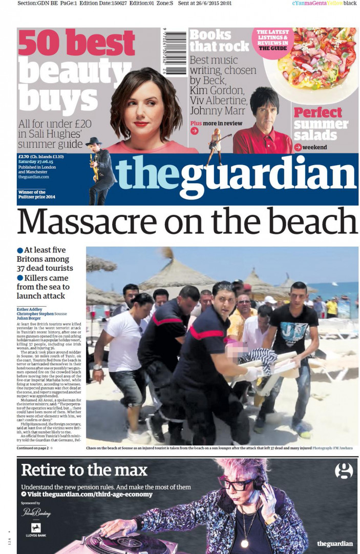"""Massacre sur la plage pour """"The Guardian"""""""