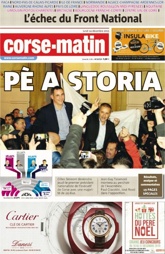 """""""Pour l'histoire"""" titre Corse Matin après la victoire des nationalistes"""