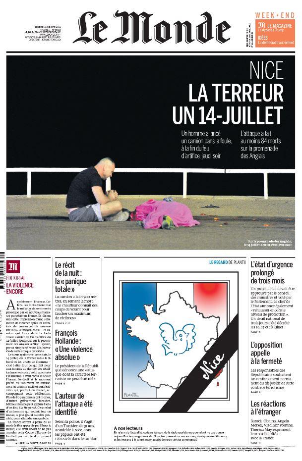 """""""La terreur un 14-juillet"""", à la une du """"Monde"""""""