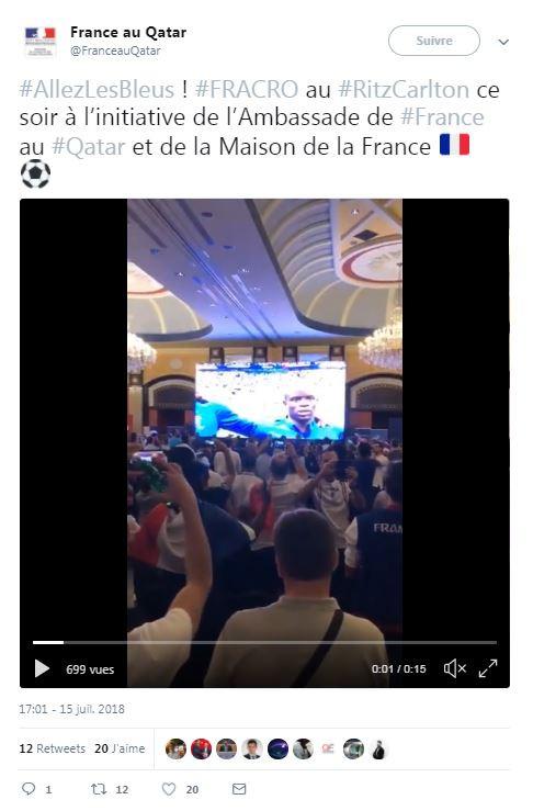 La victoire des Bleus célébrée au Qatar le 15 juillet 2018