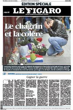 """Le Figaro, spécialement en noir, titre sur """"le chagrin et colère"""""""