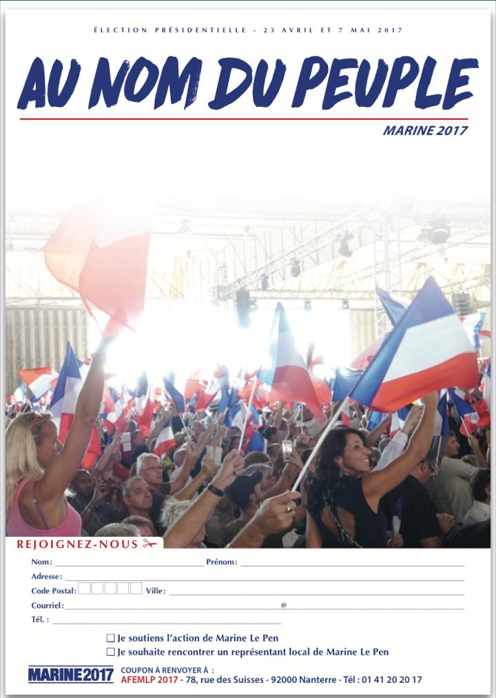 Un bulletin d'inscription pour soutenir la campagne de Marine Le Pen