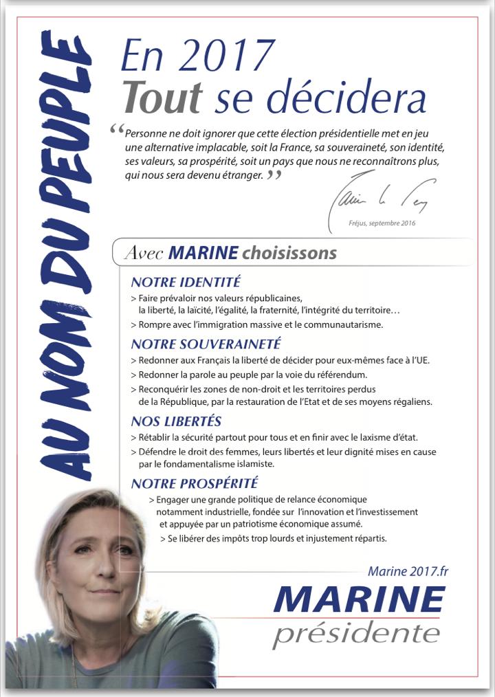 Le tract du Front national en vue de l'élection présidentielle de 2017