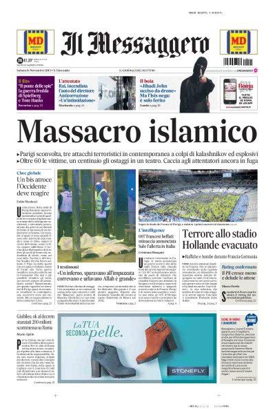 """Pour le quotidien transalpin """"Il Messaggero"""", les attaques sont un """"massacre islamiste"""""""
