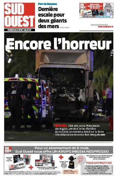 """""""Encore l'horreur"""", titre """"Sud Ouest"""""""