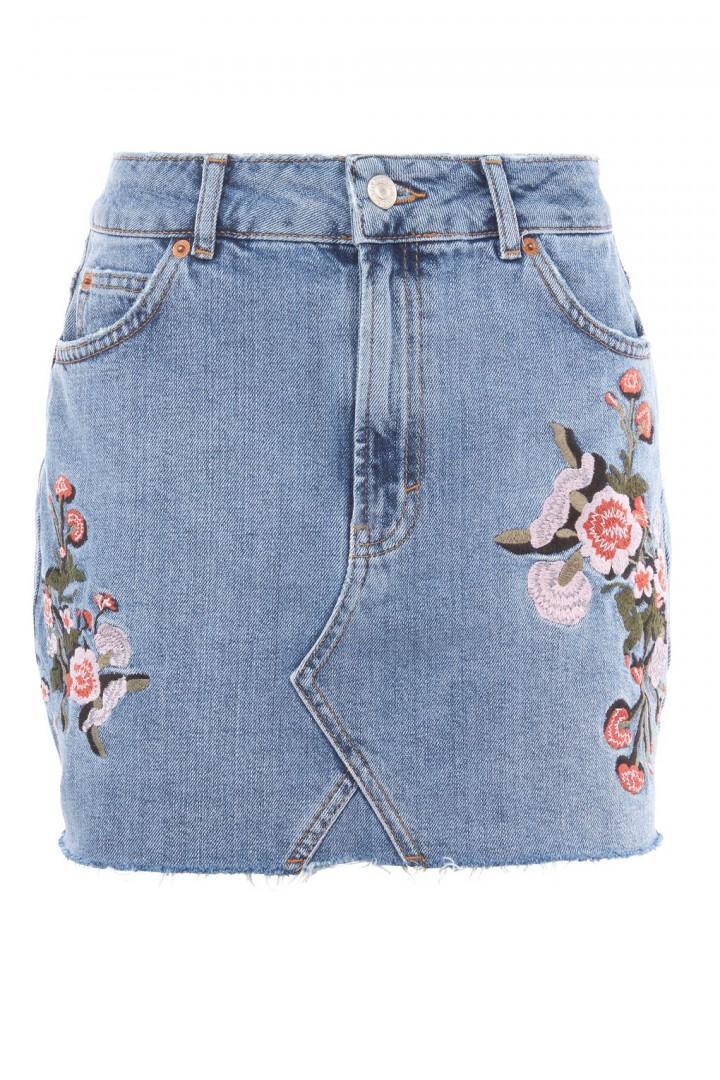 Jupe en jean à fleurs