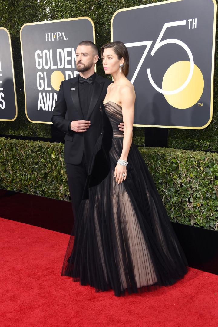 Le couple Justin Timberlake et Jessica Biel aux Golden Globes 2018
