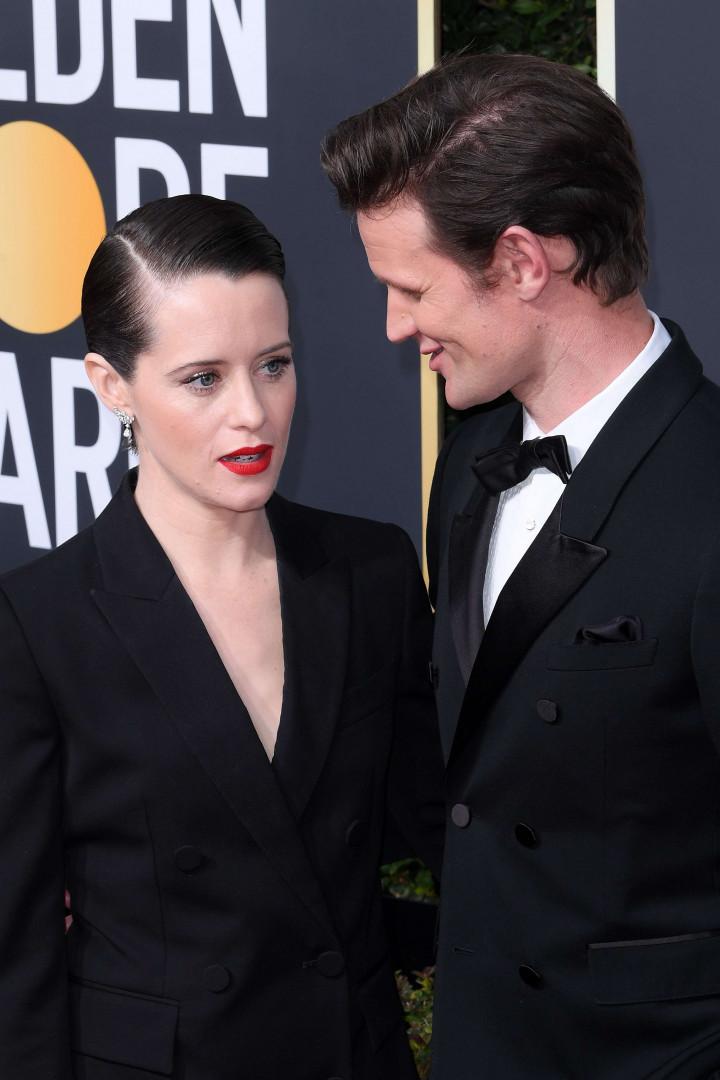 """Claire Foy et Matt Smith (""""The Crown"""") aux Golden Globes 2018"""