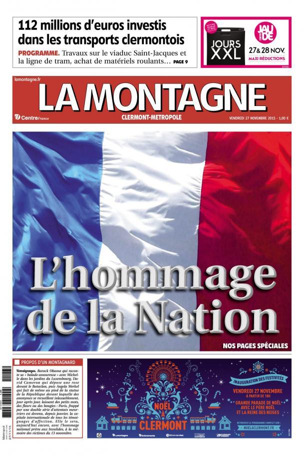 Le drapeau français en une de La Montagne