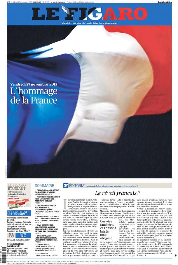 Le drapeau français en une du Figaro