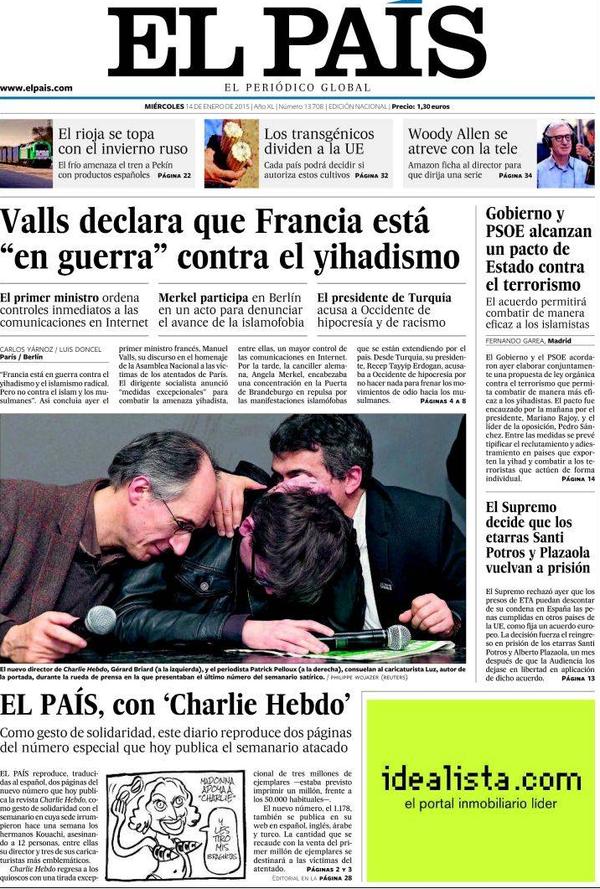 """Le quotidien espagnol """"El Pais"""" publie deux pages de """"Charlie Hebdo"""" en signe de solidarité"""