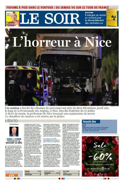 """""""L'horreur à Nice"""", titre le quotidien belge """"Le Soir"""""""