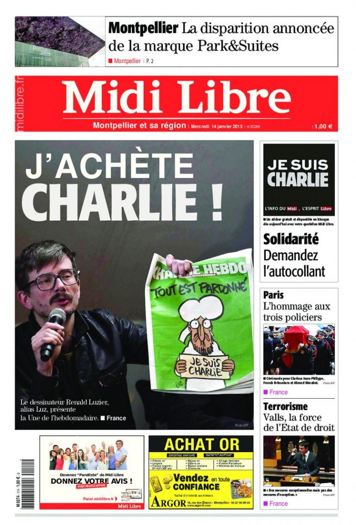 """""""Midi Libre"""" invite ses lecteurs à acheter Charlie avec une photo de Luz tenant l'hebdomadaire"""