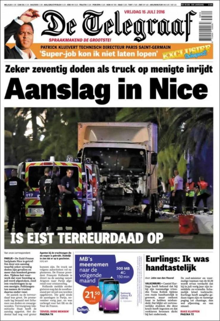 """""""Attentat à Nice"""", titre """"De Telegraaf"""" aux Pays-Bas"""