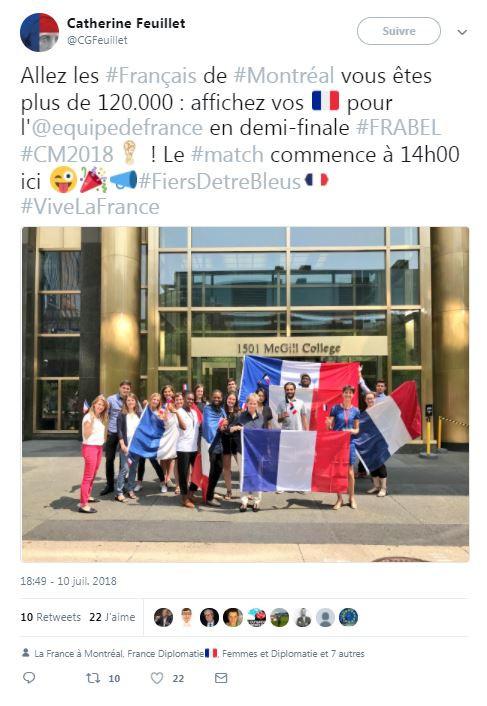 Des supporters français à Montréal le 10 juillet 2018