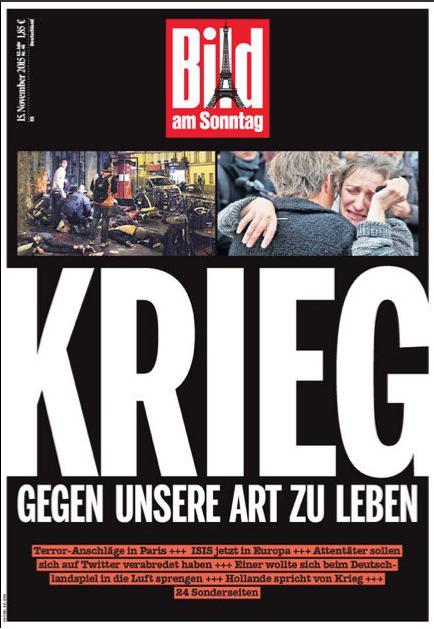 """La Tour Eiffeil et """"la guerre"""" en Une de Bild, en Allemagne"""