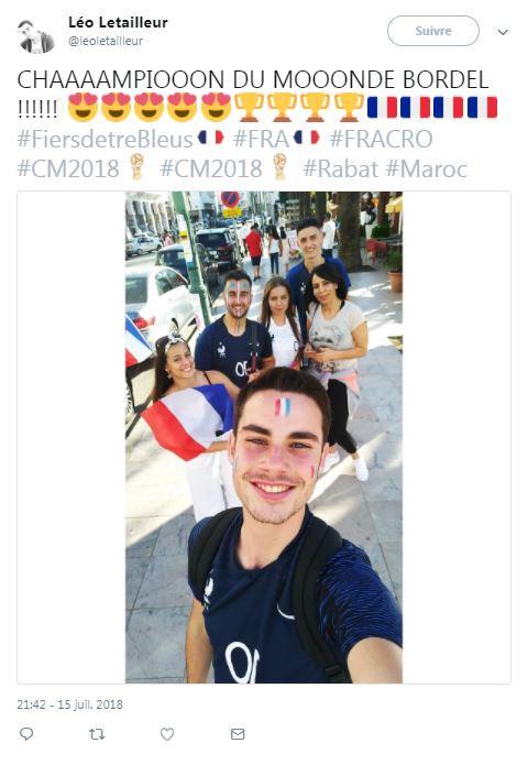 Les supporters français fêtent la victoire à Rabat (Maroc) le 15 juillet 2018
