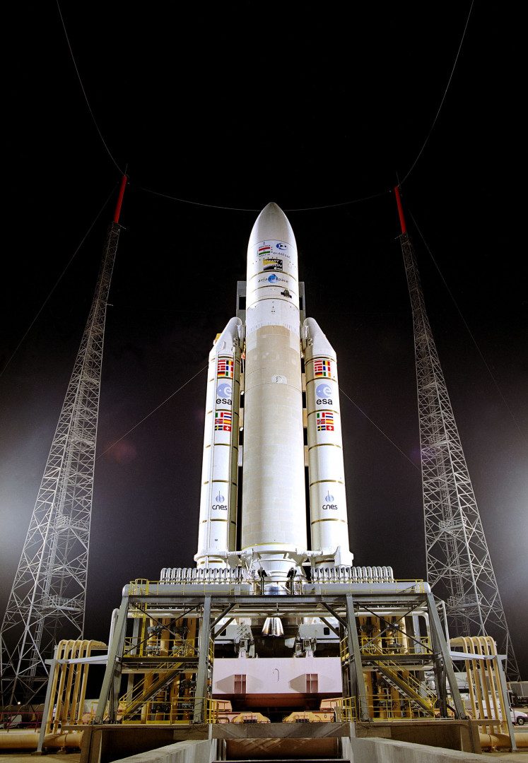 La fusée Ariane 5 avant son 100e lancement, le 25 septembre 2018