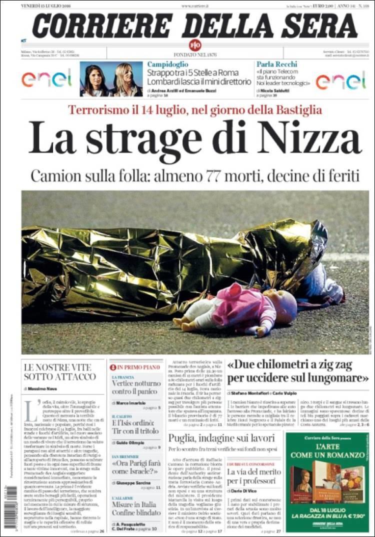 """""""Massacre à Nice"""", titre le """"Corriere della Sera"""" à Milan"""