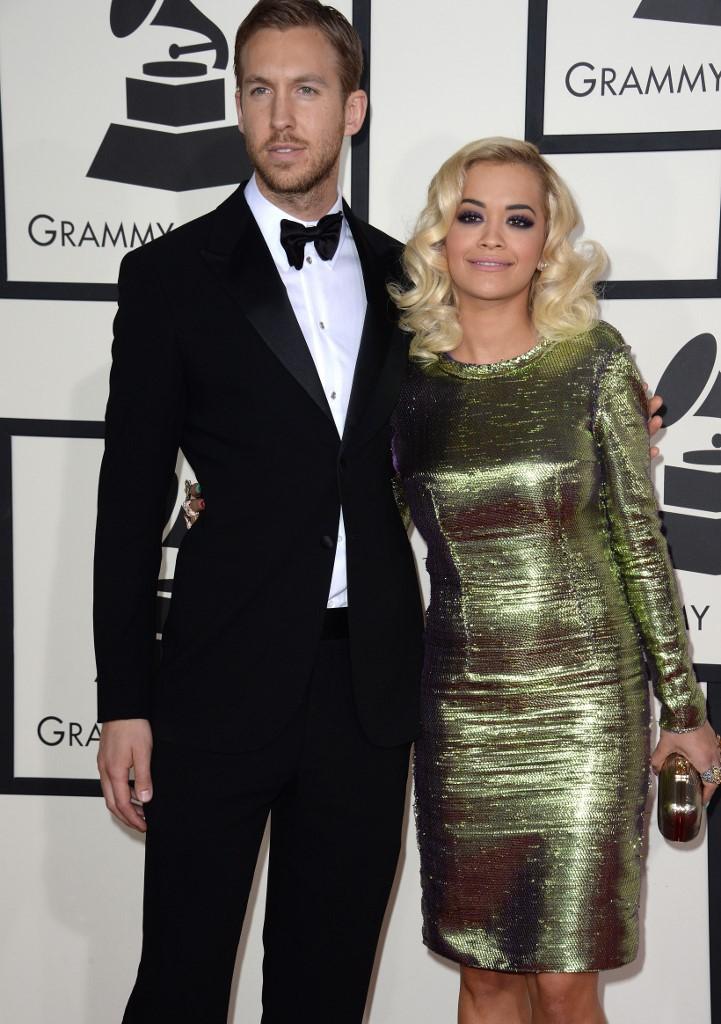 Calvin Harris avec son ex compagne, Rita Ora, lors de la 56ème cérémonie des Grammy Awards à Los Angeles