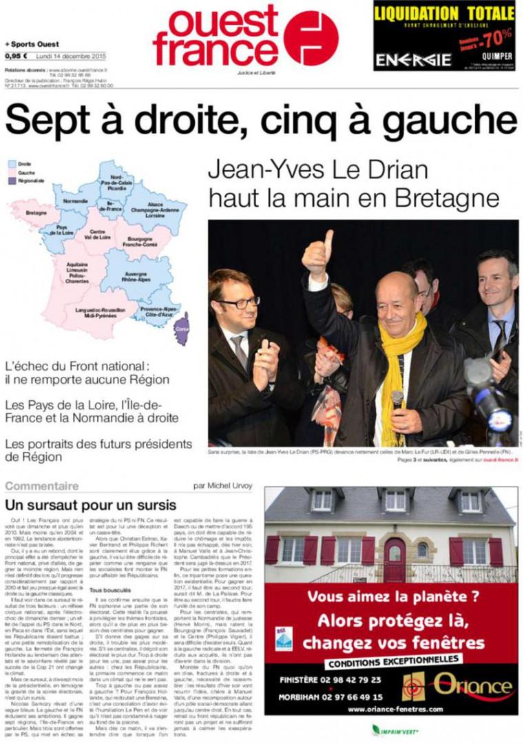 Jean-Yves le Drian a remporté la Bretagne avec plus de 51% des voix