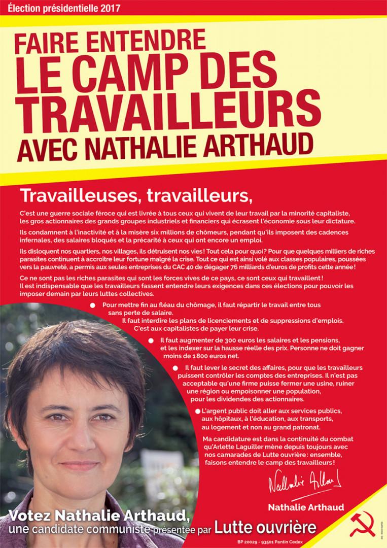 L'affiche officielle de Nathalie Arthaud