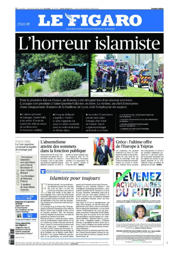 """""""Le Figaro"""" décrit """"l'horreur islamiste"""""""