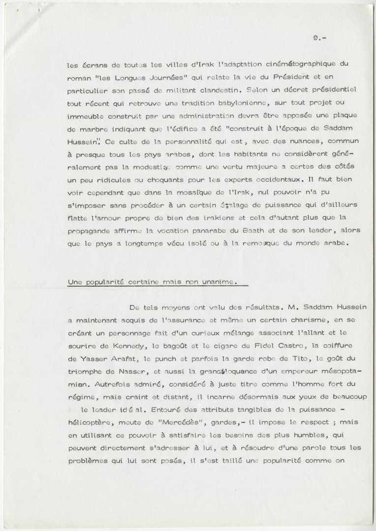 Lettre de Pierre Rocalve, ambassadeur de France en Irak, à Jean-François Poncet, ministre des Affaires étrangères, Bagdad, le 22 mai 1980