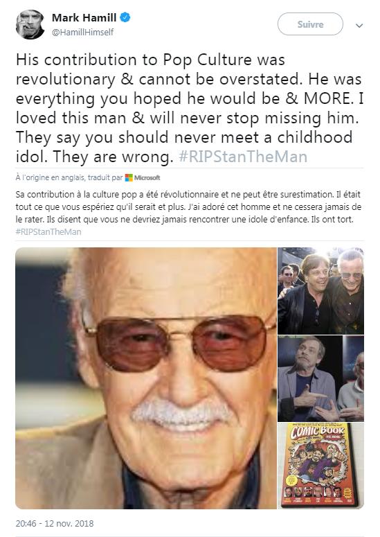 L'hommage de Mark Hamill, acteur de Star Wars, à Stan Lee, sur Twitter