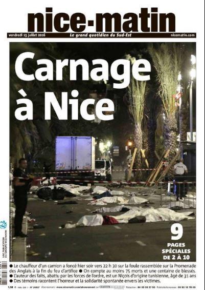 """""""Carnage à Nice"""", titre """"Nice-matin"""""""