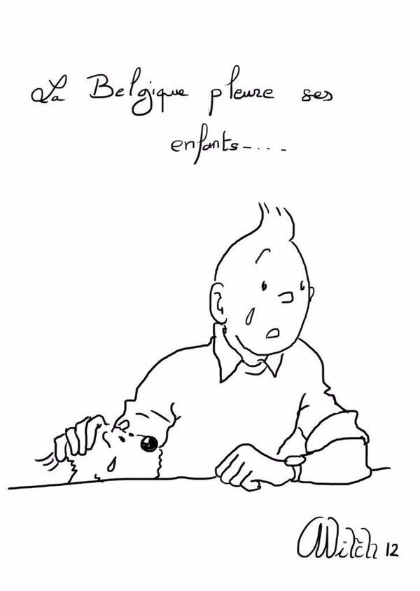 Un dessin de Tintin, après l'accident de car en 2012, est un nouvel hommage pour les attentats