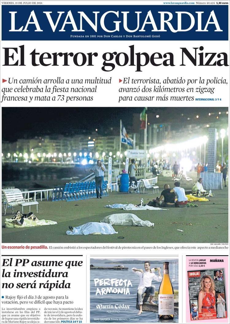"""""""La terreur frappe Nice"""", titre """"La Vanguardia"""" à Barcelone"""