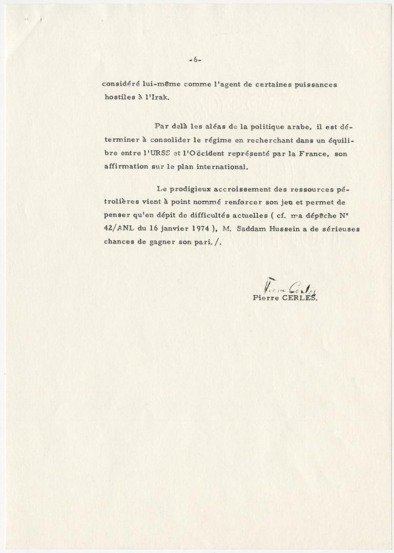 Lettre de Pierre Cerles, ambassadeur de France en Irak au ministre des Affaires étrangères, Bagdad, le 25 janvier 1974