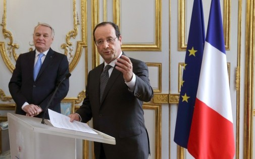 François Hollande présente ses voeux au gouvernement à l'Élysée le 3 janvier 2014.