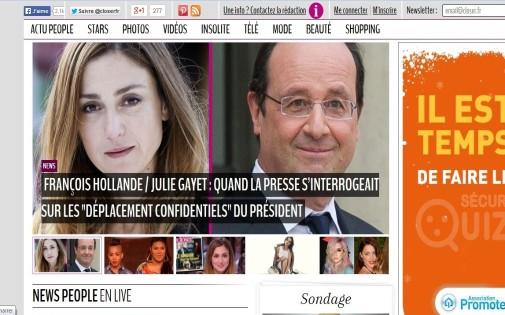 Le site internet du magazine closer annonce la relation supposée entre François Hollande et Julie Gayet (capture écran).