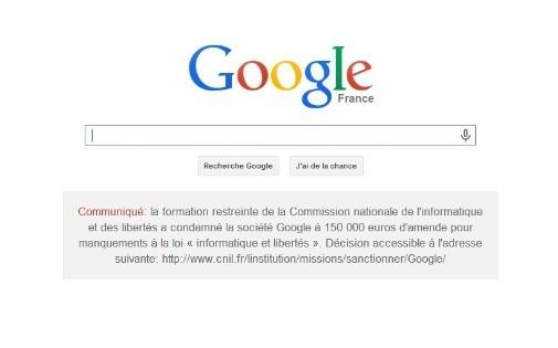 La page d'accueil de Google.fr samedi 8 février 2014
