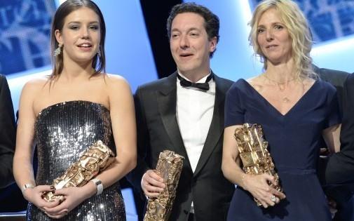 Adèle Exarchopoulos (à gauche), Guillaume Gallienne (au centre) et Sandrine Kiberlain (à droite) ont été récompensé lors des Césars 2014 vendredi 28 février