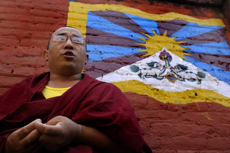 Katmandou, le 4 mars 2014. Un moine tibétain a tenté de s'immoler par le feu en Chine (Photo d'illustration).