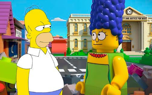 L'image des Simpsons version Lego postées sur le compte Twitter de la marque.