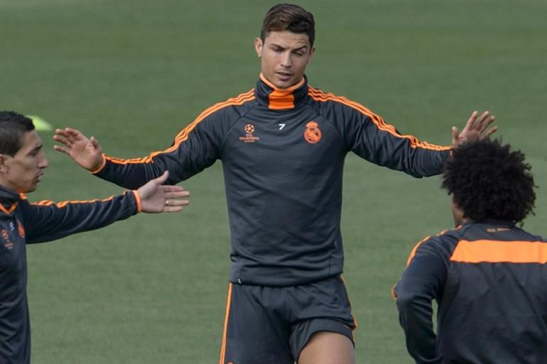 Cristiano Ronaldo lors de l'entraînement du lundi 21 avril 2014
