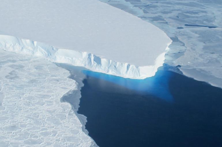 Photo de la Nasa montrant le glacier Thwaites dans l'ouest de l'Antarctique.