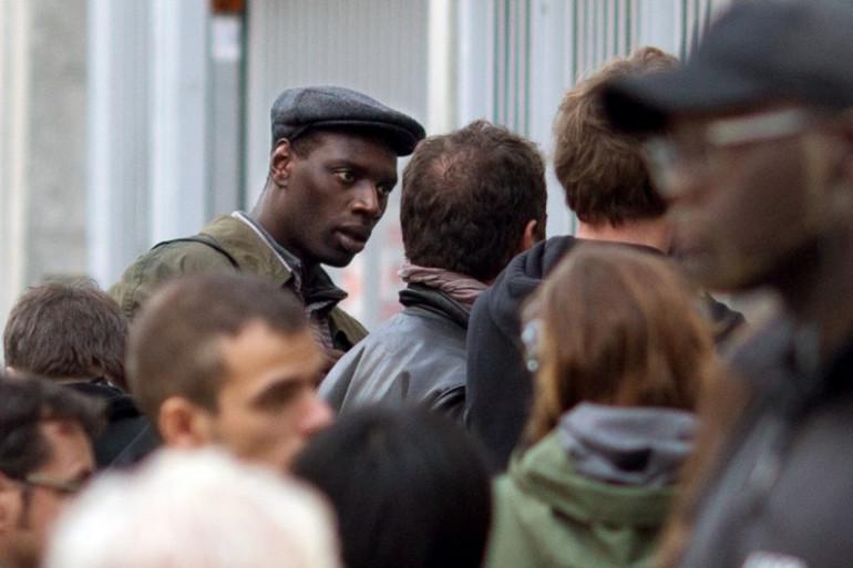 """Omar Sy lors du tournage du film """"Samba"""" en octobre 2013"""