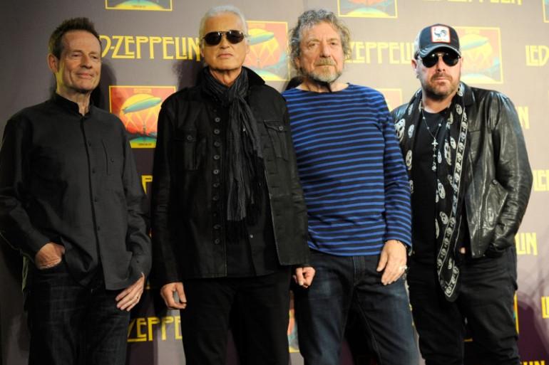 Le groupe Led Zeppelin (John Paul Jones, Jimmy Page, Robert Plant et Jason Bonham) réuni à New York en octobre 2012