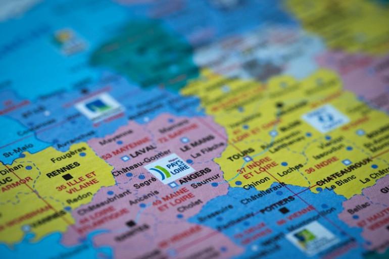 Photographie d'une carte de France prise le 17 mai 2014 (illustration)