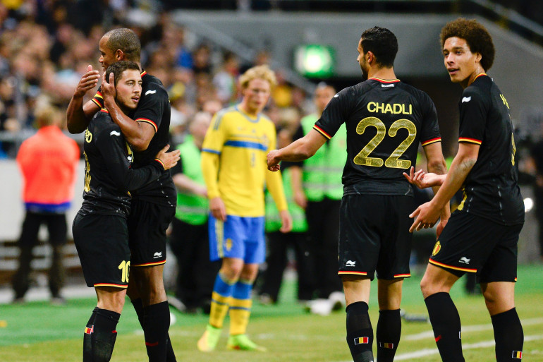 Kompany, Hazard, Chadli et Witsel sous le maillot de la Belgique le 1er juin 2014