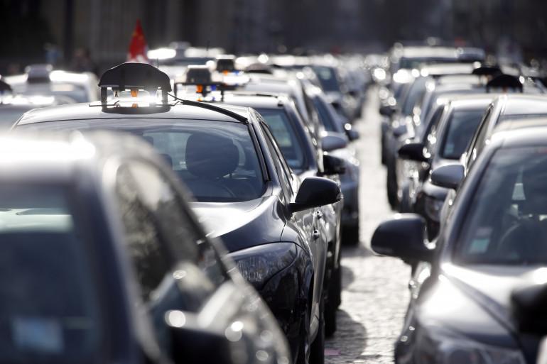 Une grève de chauffeurs de taxi, le 10 février 2014 à Paris