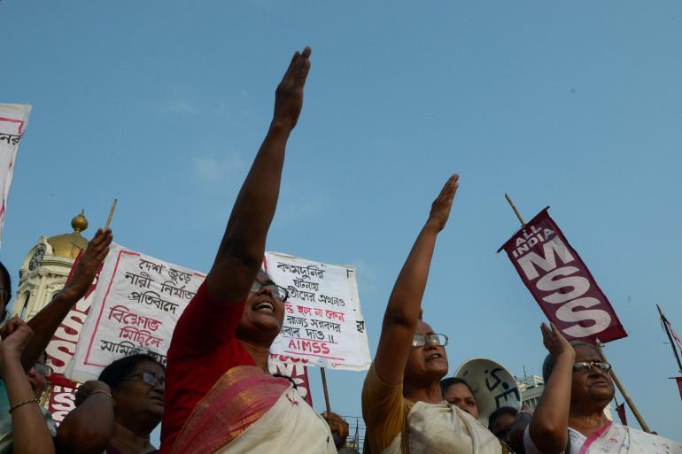 Une manifestation contre les viols de femmes en Inde, le 7 juin 2014 à Badaun dans l'Uttar Pradesh (Inde).